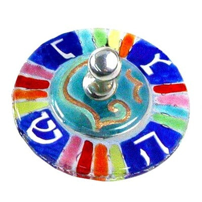 Round Rainbow Glass Dreidel-Item#5600R