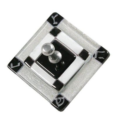 Square Black, Silver & White Dreidel-Item#5613S