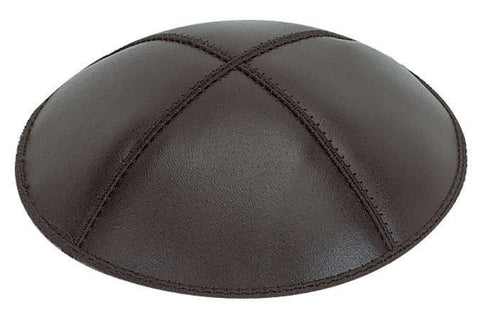 Leather Yarmulke-Black-Item#L01