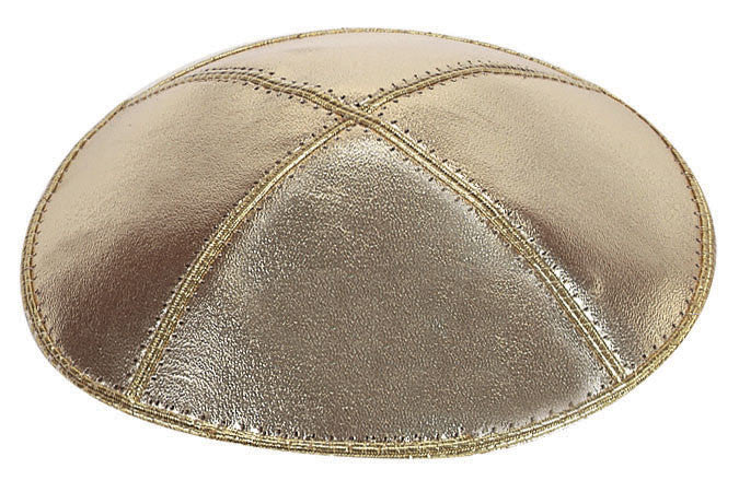 Leather Yarmulke-Gold Lame'-Item#L07