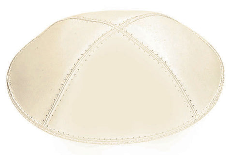 Leather Yarmulke-Ivory-Item#L05
