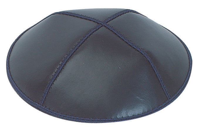 Leather Yarmulke-Navy-Item#L03