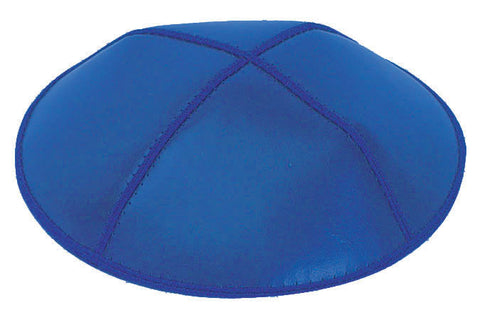 Leather Yarmulke-Royal Blue-Item#L04
