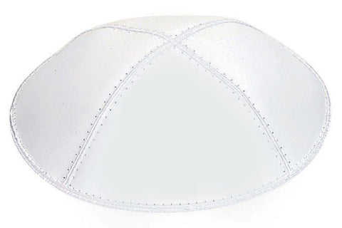Leather Yarmulke-White-Item#L02