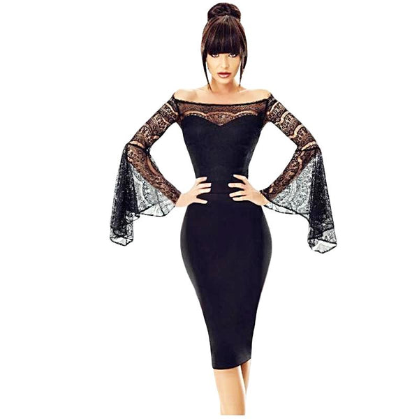 Little Black Lace Bell Long Sleeve Off Shoulder Knee-Length Dress
