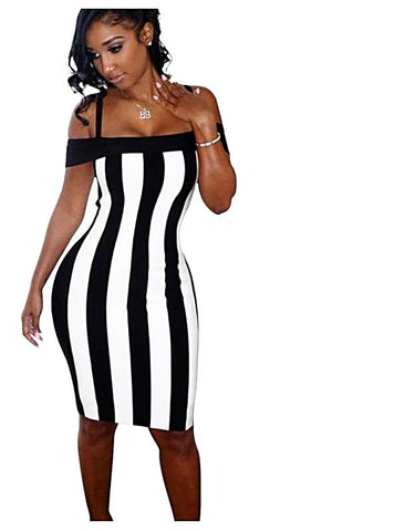 Black White Vertical Striped Printed Bodycon Dress
