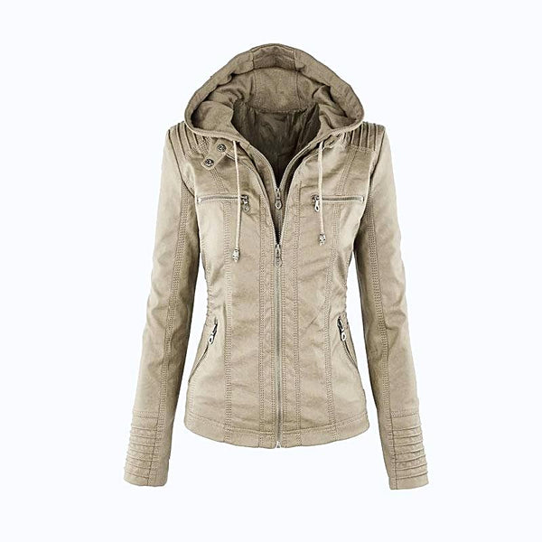 Hooded Hat Detachable  Faux Leather Jacket