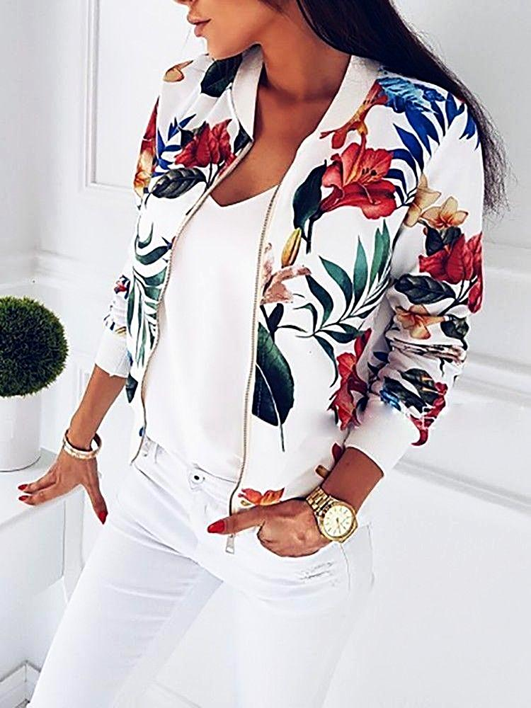 Casual Retro Floral Bomber Jacket
