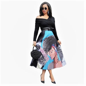 Vintage Cartoon Print High Waist Pleated Skirt