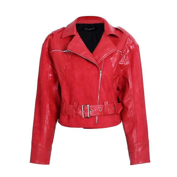 Casual Belt Zipper Suede Red Leather Jacket