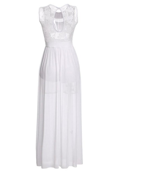Sexy Long O-Neck Sleeveless White Mesh Lace Party Dresses