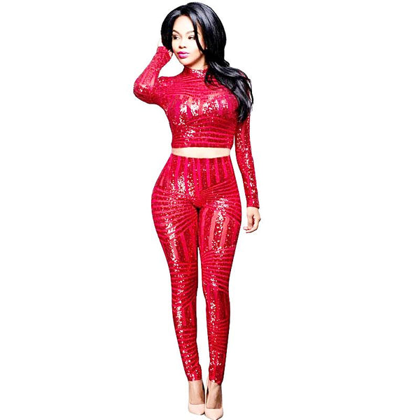 Sexy Sequined Stand Collar Long Sleeve See Through Jumpsuit