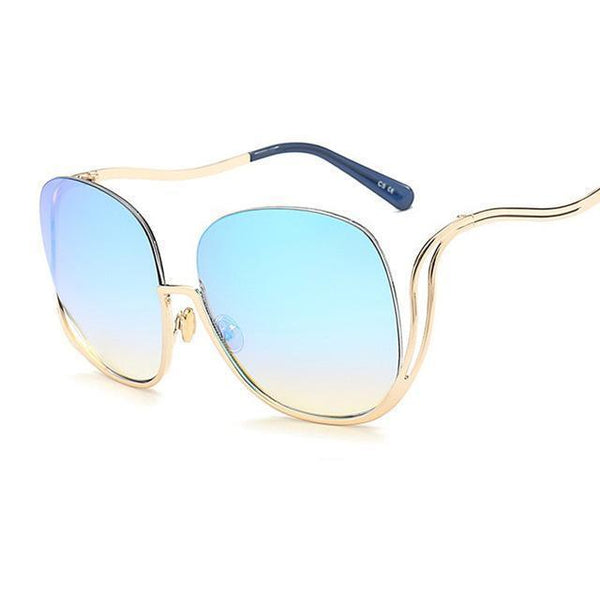 Rimless Oversized Round Sunglasses Shades