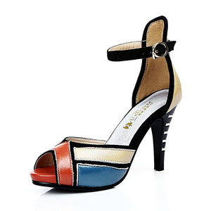 Genuine Leather Three color patchwork Elegant High Heel Sandals