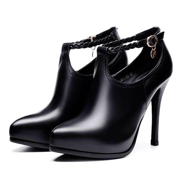 Genuine Leather High-heeled Ankle Strap Pumps