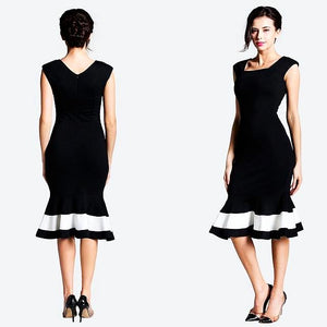 Vintage Square Collar Mermaid Mid Black Dress