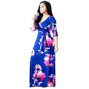 V-Neck Three quarter Sleeve Maxi Dress