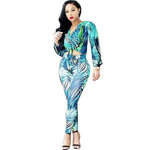 2 Piece Casual Printed Tie up Long Sleeve Crop Top and Pant Set