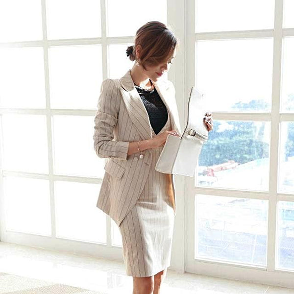 Two Piece Striped Office Lady Blazer Jacket + Fashion Sheath Dress Set
