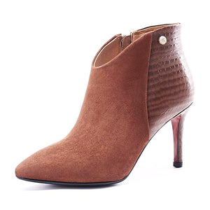 Suede Ankle High Heel Boots