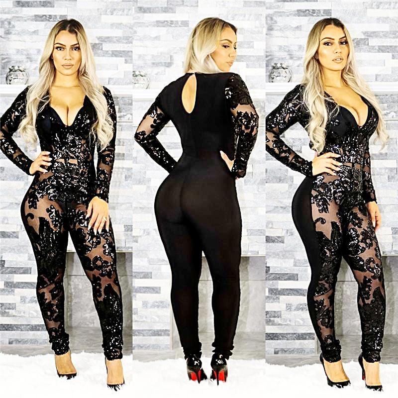 See Through Black Sequin Long Sleeve Sparkly Bodycon Jumpsuits