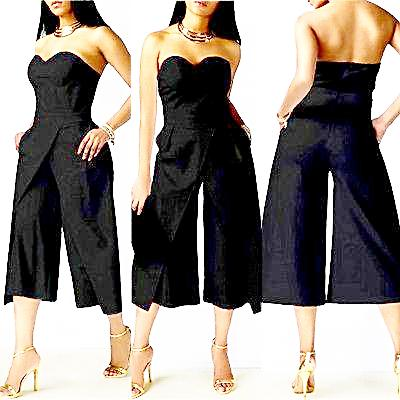 Plus Size Strapless Wide Legs Pants Jumpsuit