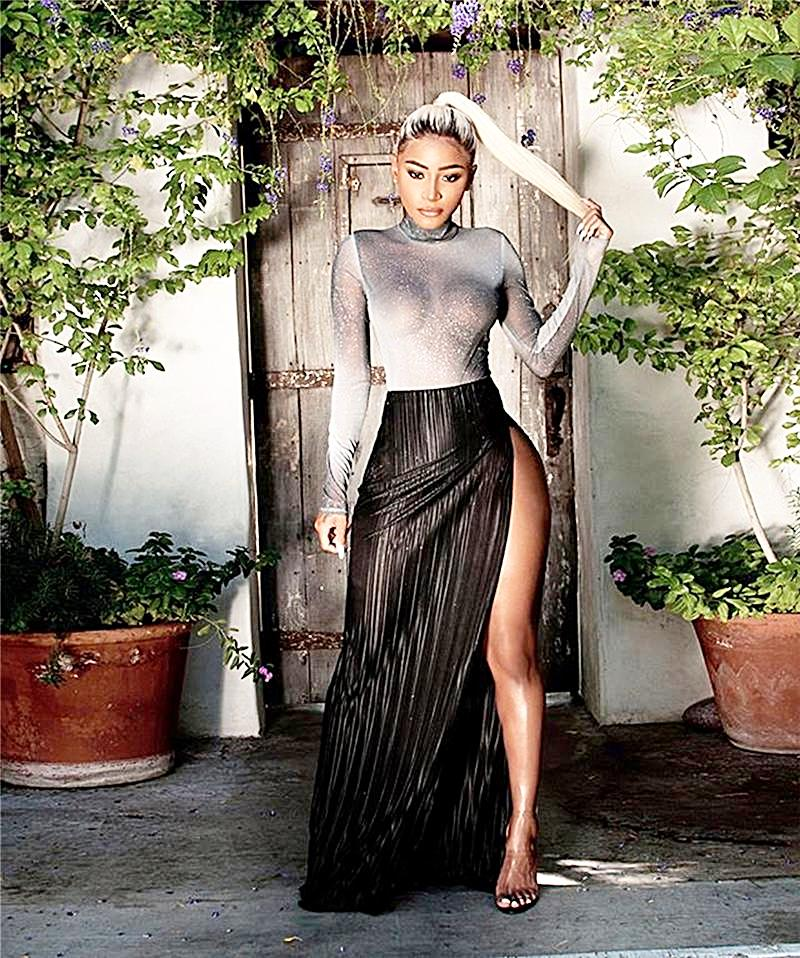 Two Piece See Through Silver Long Sleeve Top High Slit Maxi Skirt Dress