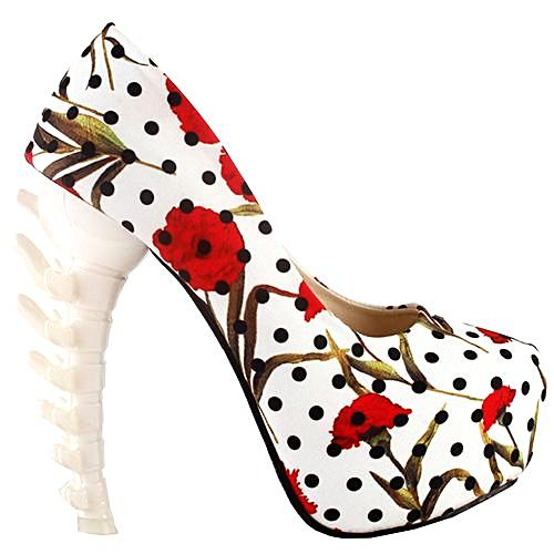 Skull and Rose Bone High Heel Pumps
