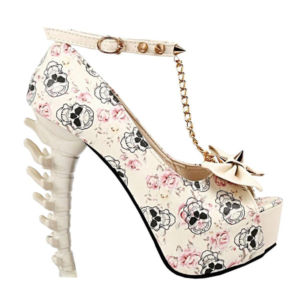 Skull Rose Print Studs Chain Peep Toe Bone Heel Pumps