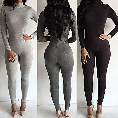 Casual Zipper Turtleneck Bodycon Stretch Bodysuit