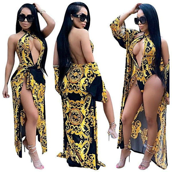 Black 2PCS Sexy Retro Print Cover Up Swimset