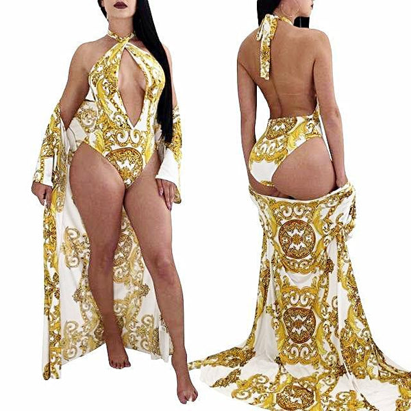 Yellow 2PCS Sexy Retro Print Cover Up Swimset