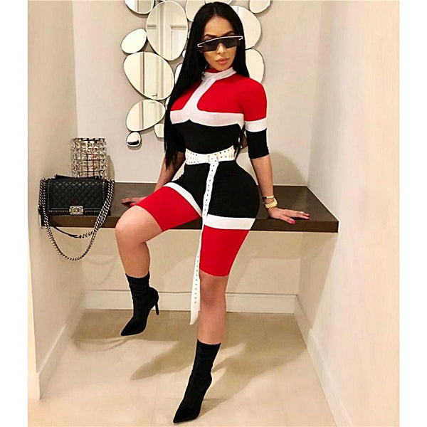 Contrast Color Turtleneck Long Sleeve Knee-length Sexy Rompers