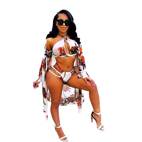 3PC Smock Cape Bikini Set
