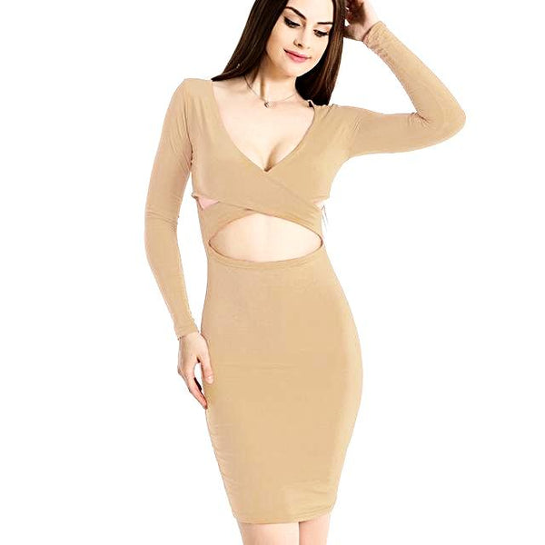 Long Sleeve Elastic Cotton Warm Party Dress