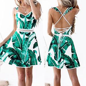 Lace Leaves Printing Sleeveless Backless Mini Dress