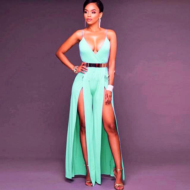 Sling Deep V-neck Backless Slit High Waist Jumpsuit