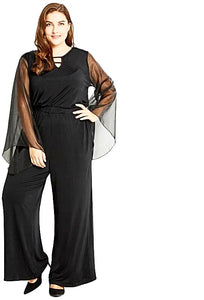 Black Long Hollow Out Long Sleeve Jumpsuit