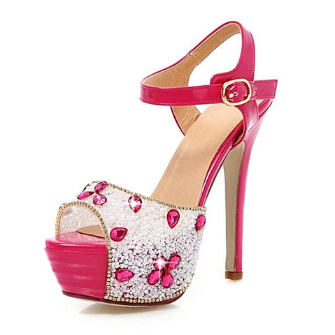 Heart-Shaped Ankle Strap High Heel Sandal