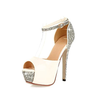 Buckle Strap Peep ToeSynthetic Spike Heel Sandal