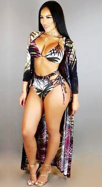 3PC Long Cloak Printed Bikini Set