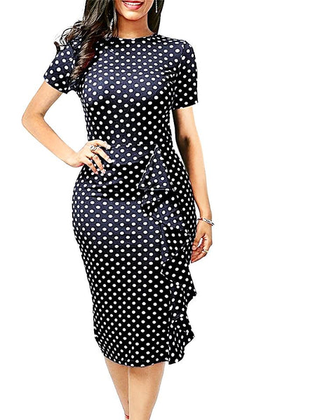 Polka Dot Ruffle Elegant Dress
