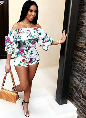 Ruffle Off Shoulder Backless Bodycon Shorts Rompers