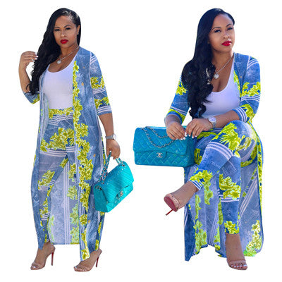 Two Piece Print Cardigan Long Jacket Pants Set