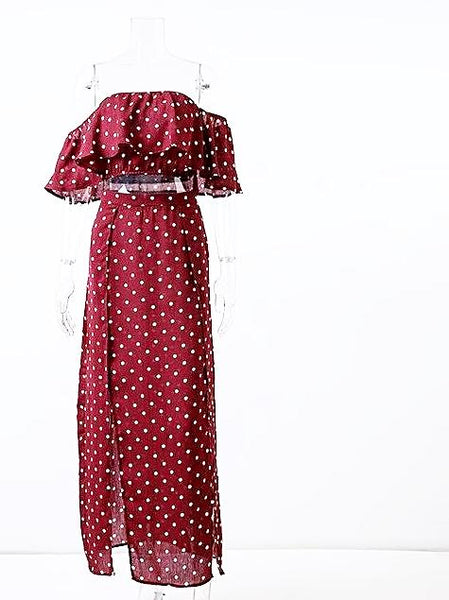 Off Shoulder Red Vintage Dot Long Chiffon Ruffle Dress