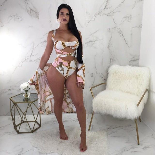 Pink Gold Chain Print Strapless High Waist Cover Up Swimwea