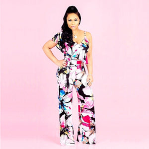 V Neck Ruffles Print Floral Full Length Straight Jumpsuit