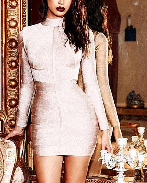 Bandage Long Sleeve Celebrity Dress