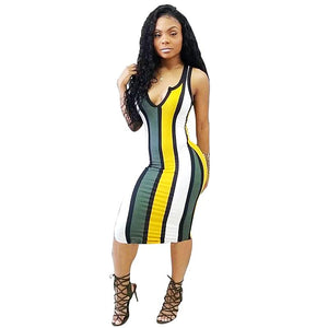 Colorful Neck Sleeveless Bandage Backless High Waist Tank Dress