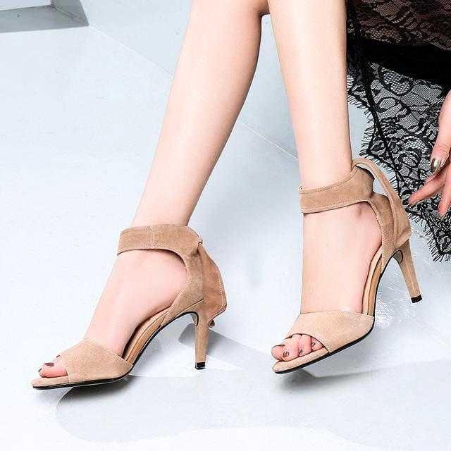 Genuine Leather Heeled Sandals Butterfly Lace Up Sandals